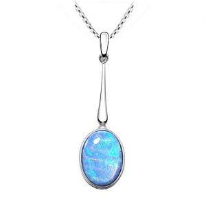 colgante de opalo de color azul
