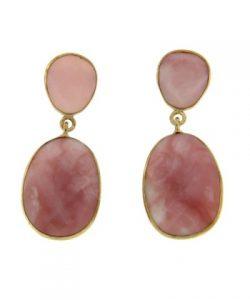 pendiente de opalo rosa