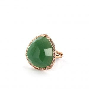anillo de aventurina verde